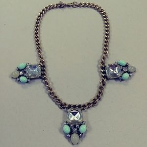 J.Crew mint green crystal statement necklace